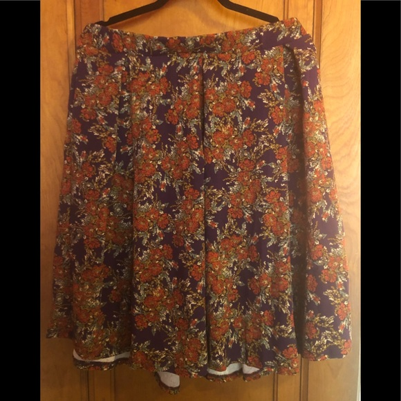 Lularoe Skirts 2xl Purple Orange Floral Madison Skirt